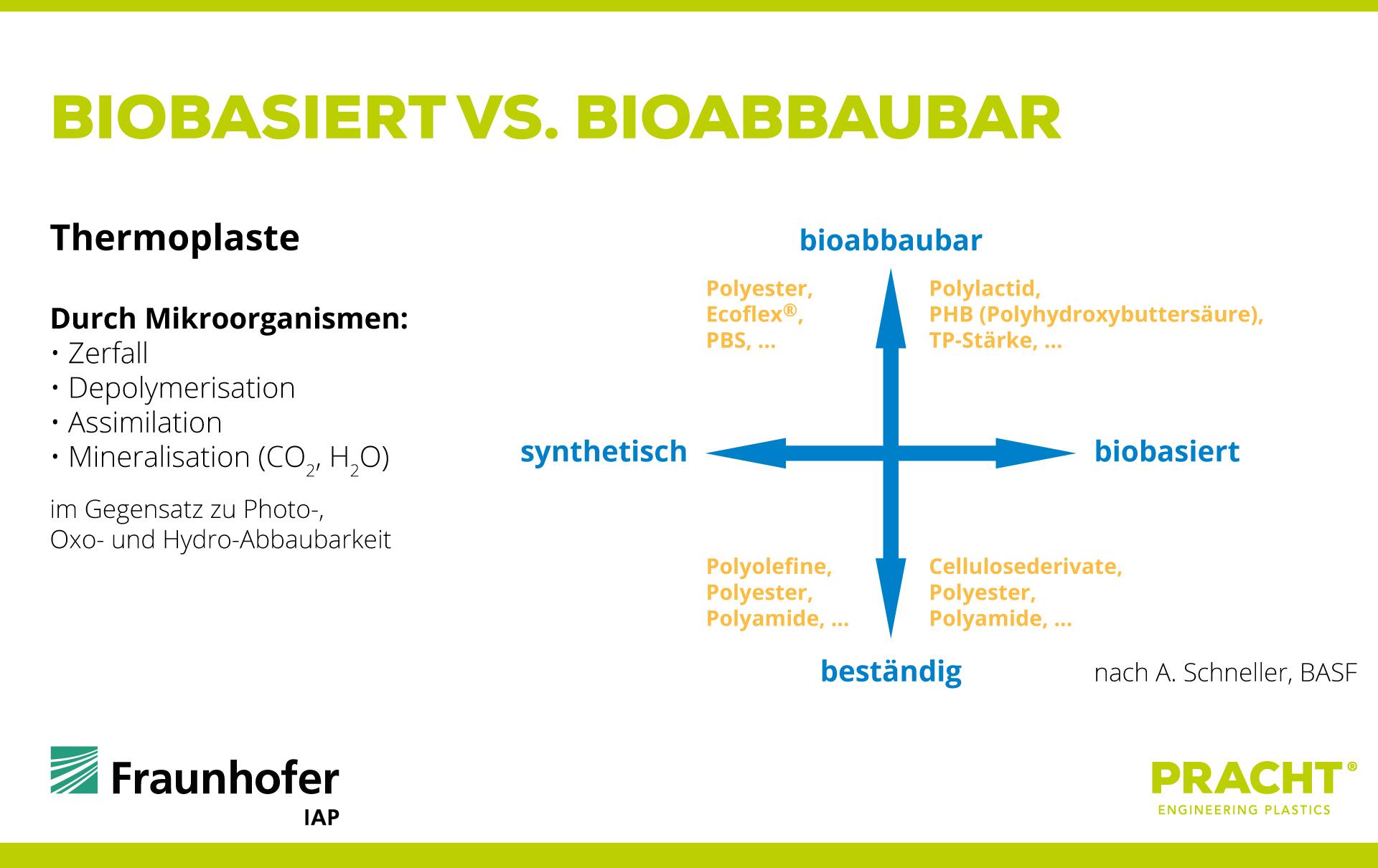 Abbildung 2 : Biopolymere biobasiert vs. bioabbaubar, Quelle IAP Fraunhofer, Potsdam-G